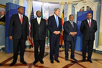 Uhuru Kenyatta - U.S. Secretary of State John Kerry meets with President Uhuru Kenyatta of Kenya, President Yoweri Museveni of Uganda, President Ismail Omar Guelleh of Djibouti, and Prime Minister Hailemariam Desalegn of Ethiopia to discuss the situation in South Sudan at the U.S. Department of State in Washington, D.C., on 5 August 2014