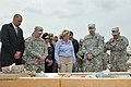 U.S. Army Gen. Frank Grass, second from left, the chief of the National Guard Bureau; Oklahoma Gov. Mary Fallin, center; and Maj. Gen. Myles Deering, right, the adjutant general of Oklahoma, visit with area 130528-Z-TK779-014.jpg