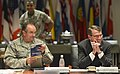 U.S. Defense Secretary Ash Carter smiles as U.S. Air Force Gen. Philip M. Breedlove, NATO's supreme allied commander for Europe and commander of U.S. European Command, introduces him during a high-level meeting 150605-D-NI589-262c.jpg
