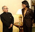 U.S. Department of State Secretary Rice With Foreign Minister Mukherjee of India.jpg