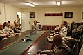 U.S. Marine Corps Sgt. Maj. Bryan B. Battaglia, center, the senior enlisted adviser to the Chairman of the Joint Chiefs of Staff, speaks with the senior enlisted Service members with Regional Command Southwest 130506-A-CL397-089.jpg
