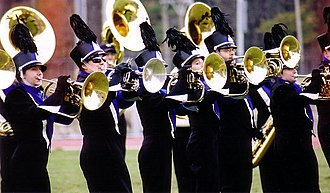 University of New Hampshire Wildcat Marching Band - 2002-2003 UNHWMB brass during a halftime performance at Cowell Stadium