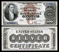 $100 Silver Certificate, Series 1880, Fr.340, depicting James Monroe