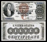 Certificado de prata de $ 100, série 1880, Fr.340, representando James Monroe
