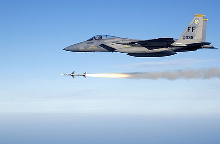 AIM-7 Sparrow medium range air-to-air missile from an F-15 Eagle USAF F-15C fires AIM-7 Sparrow.jpg