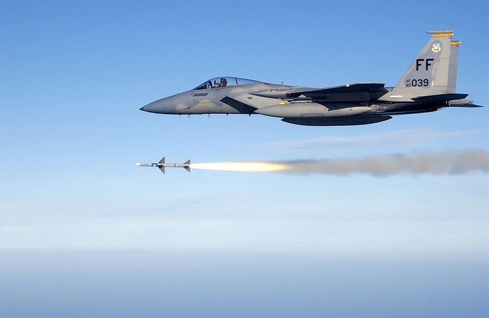 USAF F-15C fires AIM-7 Sparrow