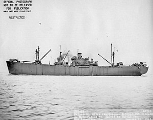 USS Deimos (AK-78) - Broadside view of USS Deimos (AK-78) underway off San Francisco, 26 January 1943.