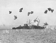 USS Louisville (CA-28) is hit by a kamikaze in Lingayen Gulf on 6 January 1945 (80-G-363217)