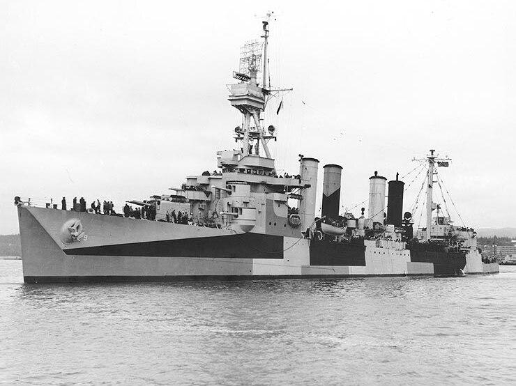 USS Richmond (CL-9) port side June 1944