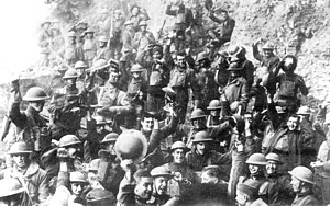 Armistice of 11 November 1918 - American soldiers of the 64th Regiment, part of the 7th Division, celebrate the news of the Armistice.