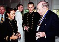 US Navy 010921-N-5390M-002 File Photo, Former Chairman of the Joint Chiefs of Staff Adm. William J. Crowe Jr., talks with Midshipmen at a reception honoring the U.S. Naval Academy Alumni Association Distinguished Graduate Award.jpg