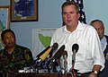US Navy 050105-N-6020P-120 Florida Governor Jeb Bush speaks to members of the international press about the United State's involvement in disaster relief at a press conference held at the Banda Aceh, Sumatra, Indonesia ai.jpg