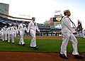 US Navy 050420-N-8977L-011 U.S. Navy Sailors take to the field prior to the singing of the National Anthem being during Military Appreciation Day at Petco Park, home to the San Diego Padres.jpg