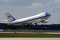 Boeing VC-25A, widely known as Air Force One when the President is on board, of the 89th Airlift Wing based at JB Andrews.