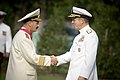 US Navy 070824-N-0696M-133 Chief of Naval Operations Adm. Mike Mullen congratulates Adm. Vladimir Masorin, commander in chief of the Russian Navy, after presenting him with the Legion of Merit during a full honors ceremony at W.jpg