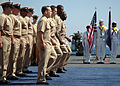 US Navy 070920-N-5120C-205 Four chief petty officer selectees march in formation during a pinning ceremony aboard amphibious command ship USS Mt. Whitney (LCC 20).jpg