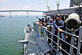 US Navy 080627-N-4774B-814 Sailors aboard the guided-missile cruiser USS Lake Champlain (CG 57) maintain security and safety watches as the ship approaches the Coronado Bay Bridge.jpg