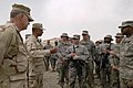 US Navy 080815-N-8273J-253 Chief of Naval Operations (CNO) Adm. Gary Roughead, left, and Master Chief Petty Officer of the Navy (MCPON) Joe R. Campa Jr. speak with Sailors, Marines and Soldiers.jpg