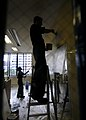 US Navy 090804-N-7280V-400 Sailors assigned to the amphibious command ship USS Blue Ridge (LCC 19) and embarked Seventh Fleet staff Sailors paint a classroom in the Tokyo YMCA International School during a community service pro.jpg
