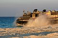 US Navy 091011-M-8752R-128 A landing craft, air-cushioned from Assault Craft Unit (ACU) 4 returns to sea after delivering cargo during an Exercise Bright Star 2009 offload for in Egypt.jpg