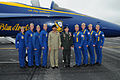 US Navy 100321-A-4584J-010 Gen. David H. Petraeus, commander of U.S. Central Command, center right, and Chief of Army Staff of the Pakistan army Gen. Ashfaq Kayani, pose with members of the U.S. Navy flight demonstration team,.jpg