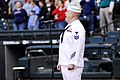US Navy 100531-N-1194D-242 Musician 1st Class Thomas Horner, assigned to the U.S. Navy Region Northwest Band, sings the national anthem before a Major League Baseball game.jpg