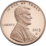 A 2013 one-cent coin from the United States (valued at 1/100 of a dollar), known colloquially as a penny.