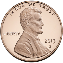 "2013 Lincoln cent obverse, showing ""IN GOD WE TRUST"" motto"
