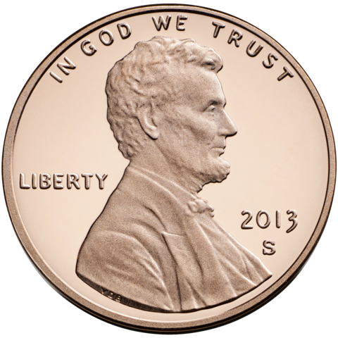 "2013 Lincoln cent obverse, showing ""  IN GOD WE TRUST  "" motto"