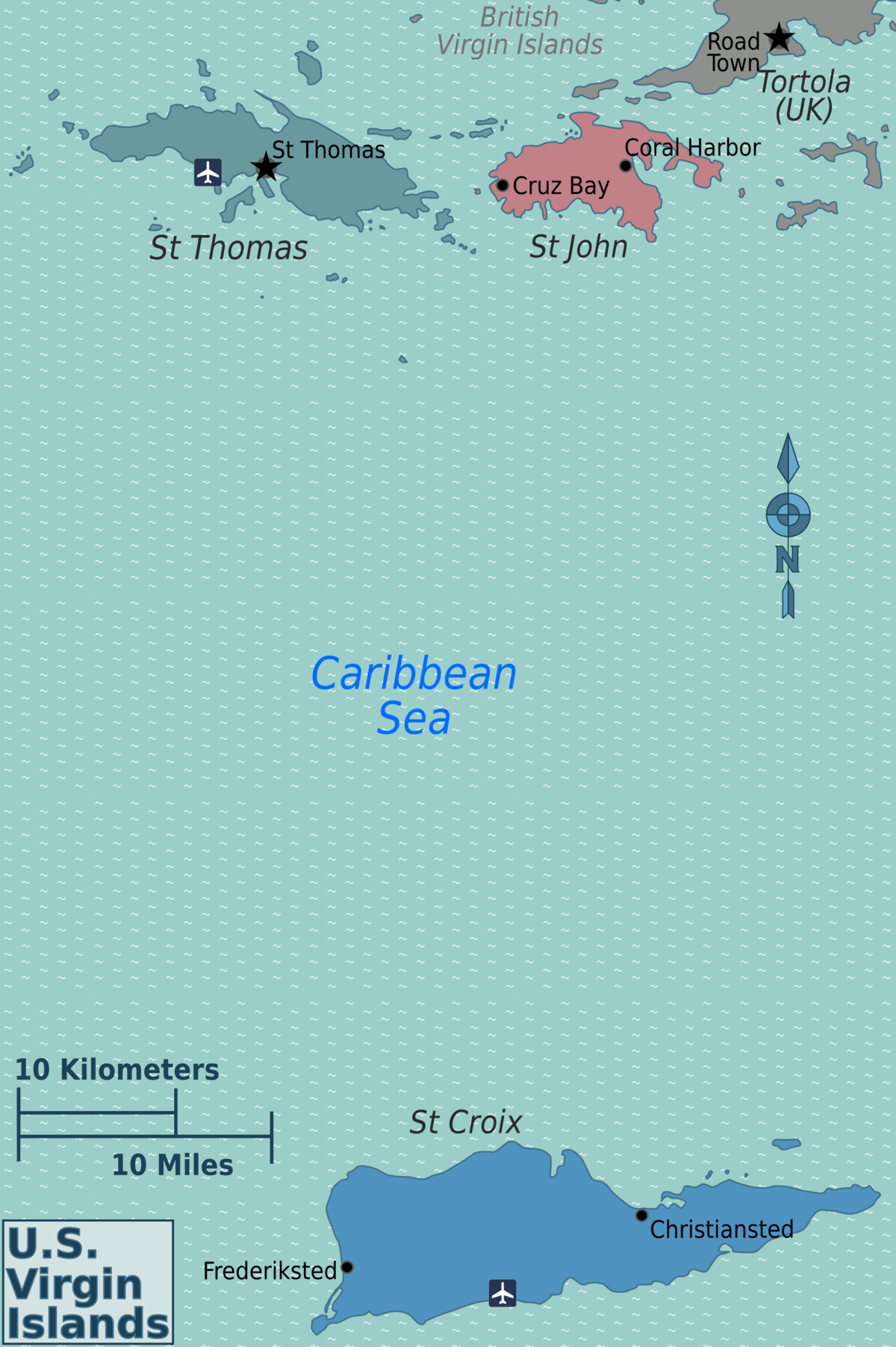 US Virgin Islands Travel Guide At Wikivoyage - Us map with virgin islands