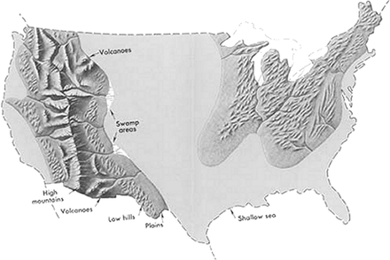 Geography of the Contiguous United States in the late Cretaceous period US cretaceous general.png