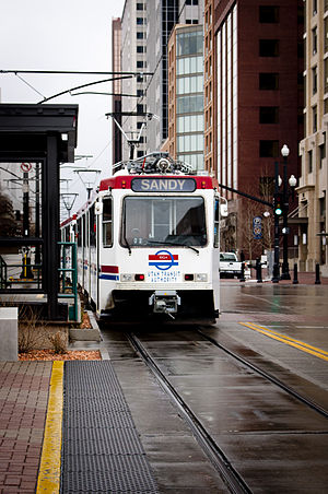 Temple Square (UTA station) - A Blue Line train to Sandy departing Temple Square Station