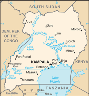 CIA World Factbook map of the country of Uganda.