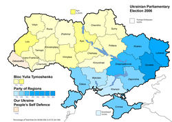 Highest vote by party per region - Percentage of total national vote