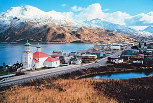 English: View of downtown Unalaska, AK Unalask...