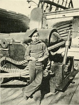 History of children in the military - A powder monkey Aspinwall Fuller on a Union vessel, USS New Hamsphire American Civil War.1864