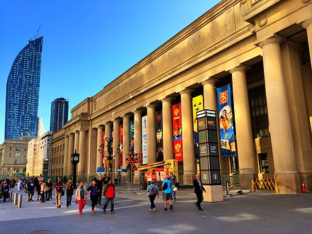 Union Station is a major commuter and inter-city transportation hub in downtown Toronto. Union Station, Toronto (30427373561).jpg