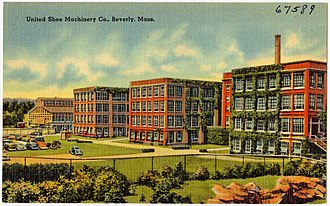 United Shoe Machinery Corporation - A vintage postcard with the United Shoe Machinery factory in Beverly, Massachusetts