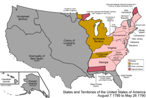 Northwest Territory - Map of the states and territories of the United States as it was on August 7, 1789, when the Northwest Territory was first organized, to May 26, 1790, when the Southwest Territory was organized