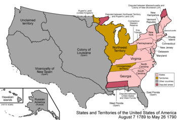 Map of the states and territories of the United States as it was on August 7, 1789, when the Northwest Territory was first organized, to May 26, 1790, when the Southwest Territory was organized.
