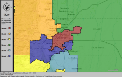 United States Congressional Districts in Colorado (metro highlight), 1993 – 2002.tif