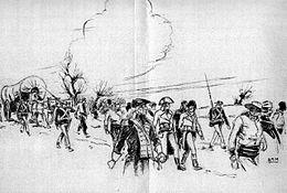 United States Marine escorting French prisoners