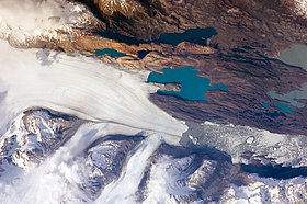 El glaciar Upsala visto desde la International Space Station (octubre 2009)
