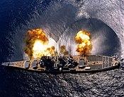 The USSIowa firing her 16in (41cm) guns