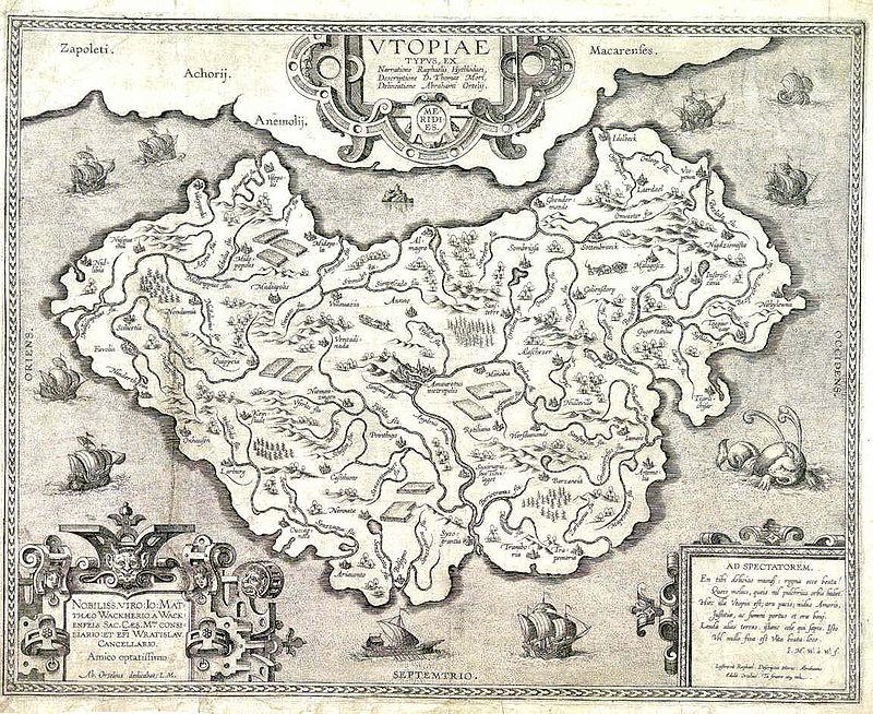 Mapa/interpretación de Utopía por Abraham Ortelius (1595). Vía Wikimedia.org