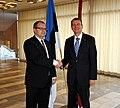 Välisminister Urmas Paet kohtus täna Tallinnas Läti uue välisministri Edgars Rinkēvičsega. 31. oktoober 2011 (6298642754).jpg