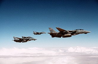 VFA-103 - VF-103 F-14A+ Tomcats en route to Iraq while flying off Saratoga during the Gulf War.