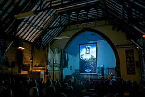Vertical video - The first edition of the Vertical Film Festival, projected tallscreen 9:16 aspect ratio in St Hilda's Church, Katoomba in Australia's Blue Mountains, 17 October 2014.