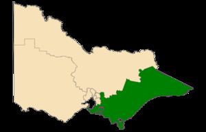 Eastern Victoria Region - Location of Eastern Victoria Region (dark green) in Victoria