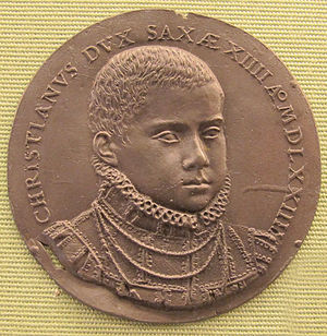 Christian I, Elector of Saxony - Christian of Saxony as a prince, medal, 1574